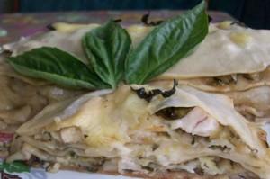 Vegetable marrow and chicken lasagna