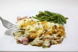 Potatoes with ham and cheese