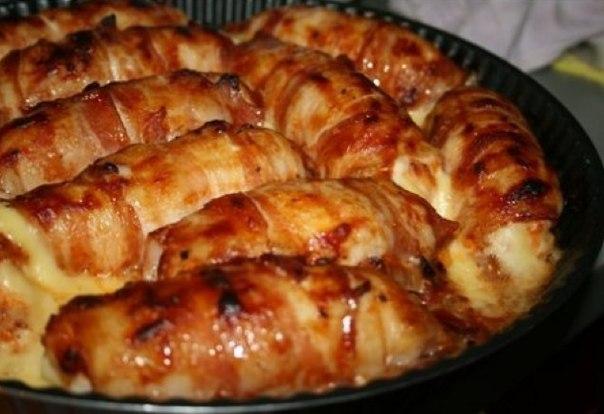 Куриные рулеты с копченым сыром