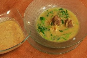 Soup with meat and spinach