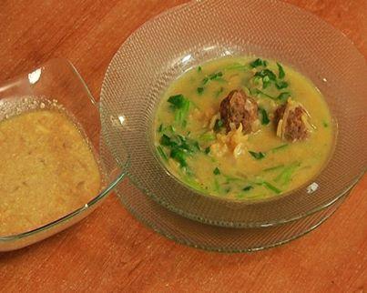 Суп с мясом и шпинатом