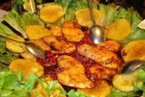 Fried fish with pomegranate sauce