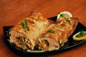 Roll with lavash and fish