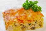 Lazagnia with mushroom and chicken soft meat