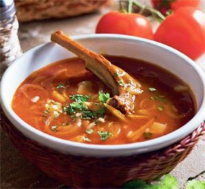 Tomato soup with beef